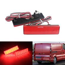 ANGRONG 2x LED Rear Bumper Reflector Tail Light Red Lens For Opel Vauxhall Vivaro Movano A