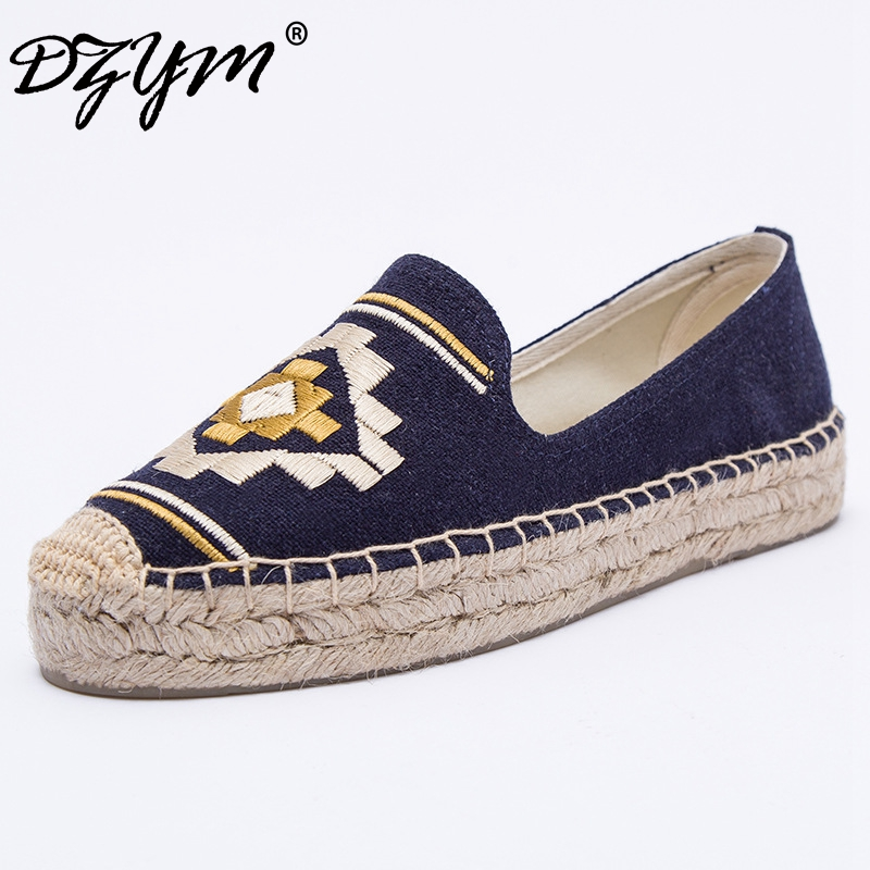 DZYM 2019 Spring Top Quality Canvas Espadrilles Women Flat Platforms Panda Embroider Flats Smoking Zapatos Mujer