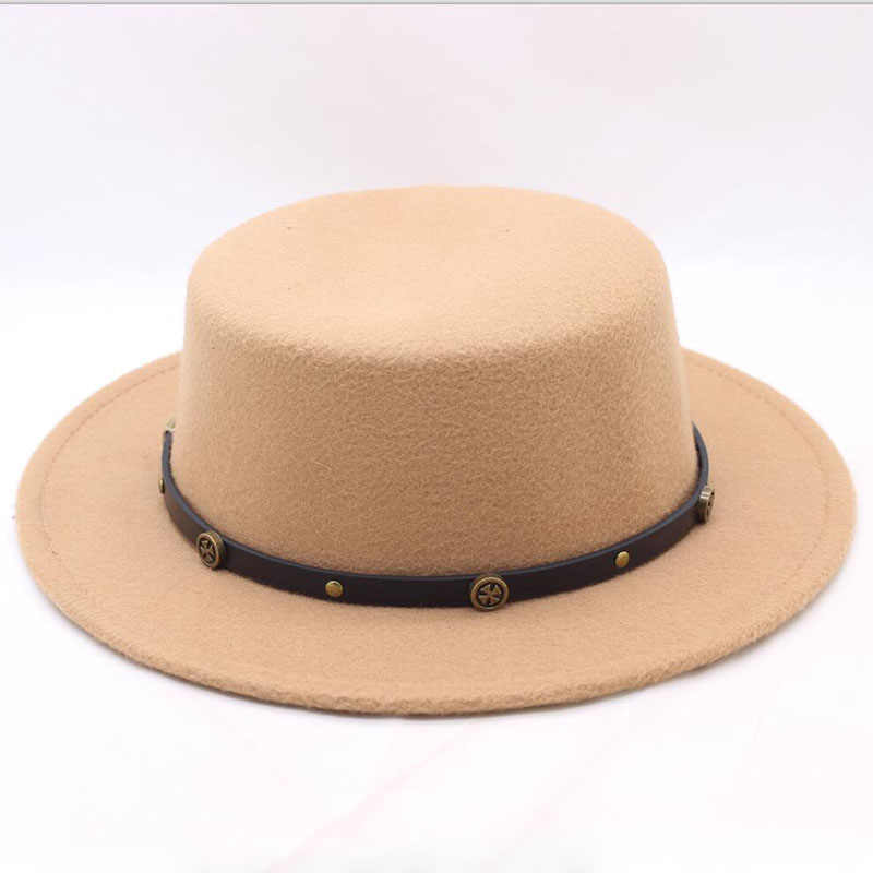 9082b78787b 2018 New Fashion Women Winter Fedoras Hats Cashmere Polyester Blends Spring Flat  Top Hats Female Gorros