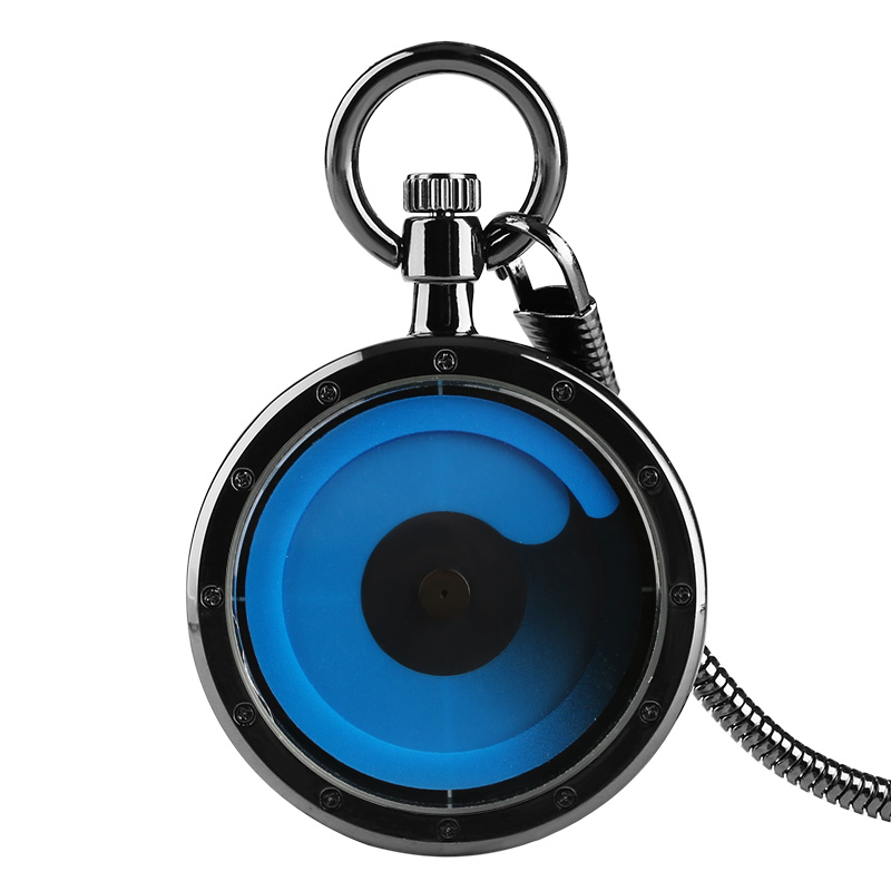 8 Types Color Gradient Concept Men Women Pocket Watch Blue Swirl Pointer Quartz Geek Male Hour Clock Snake Chain Turntable Watch