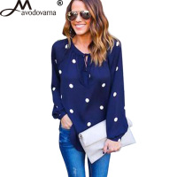 Avodovama M 2017 New Fashion Blouse Shirts Casual Women Chiffon Blue Ploka Dot Sexy V Neck