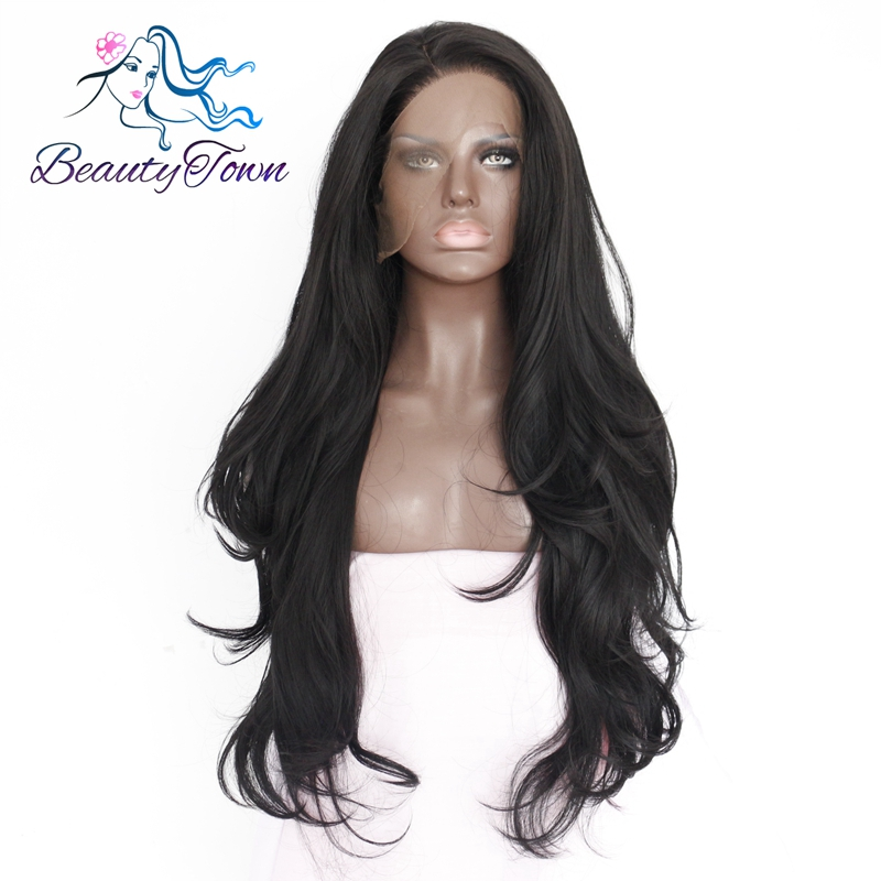 BeautyTown Natural Wave Type Heat Resistant Hair Black Color Natural Hairline Women Daily Makeup Synthetic Lace