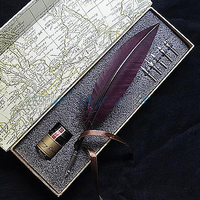 Nature Turkey Feather Fountain Vintage Pen with 1 Ink 5 Nibs