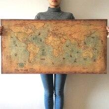 BLINGIRD, mapa del mundo marino náutico, arte antiguo Retro, papel, pintura, decoración del hogar, pegatina, póster para el salón, café, póster antiguo