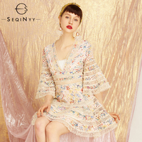 SEQINYY Sexy Dress Early Autumn High Quality 2018 New Women's Embroidery Lace Hollow out Flowers Printed Retro Fashion Dress