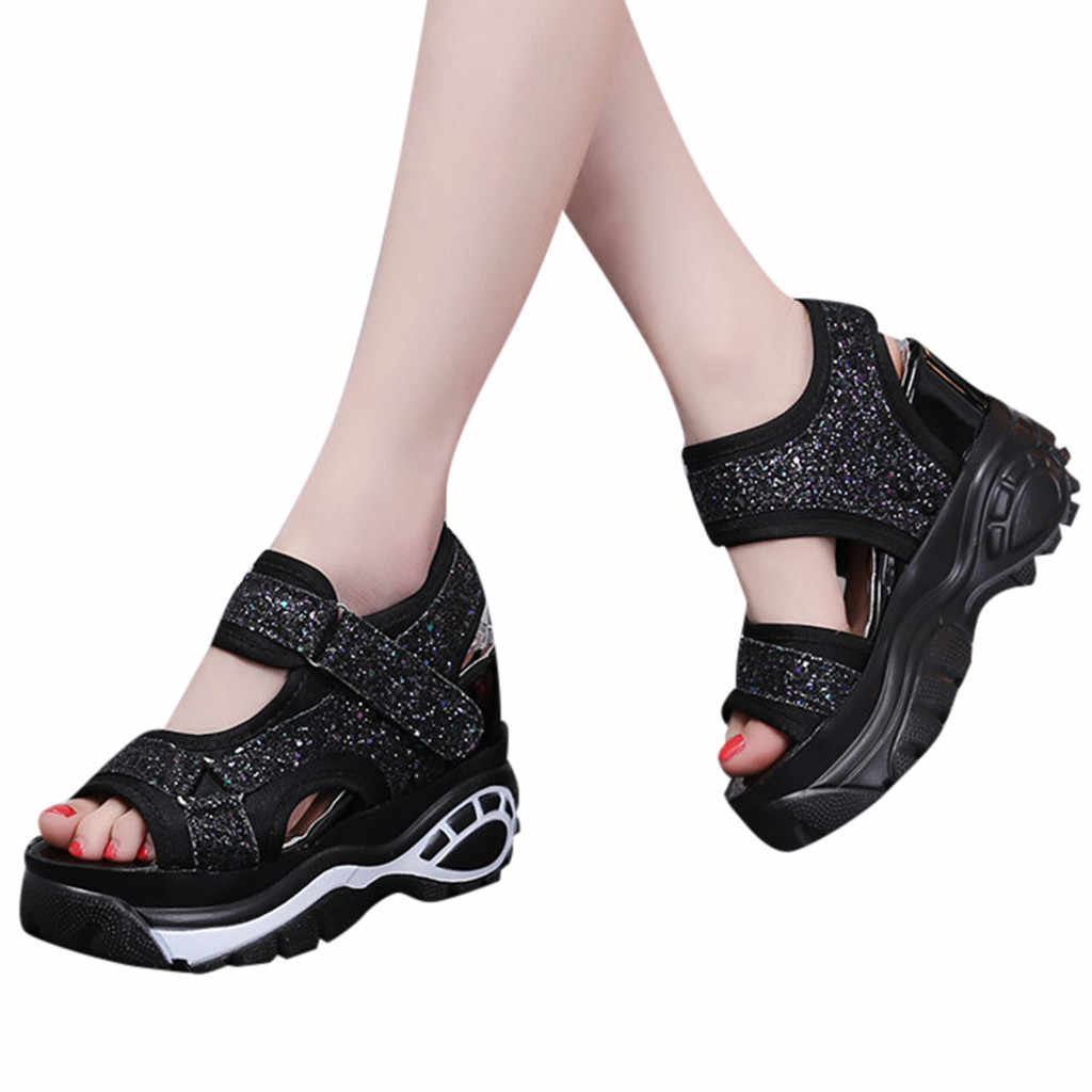CHAMSGEND Women's shoes Platform shoes open toe increased wedge with thick sandals casual fashion non-slip outdoor sandals