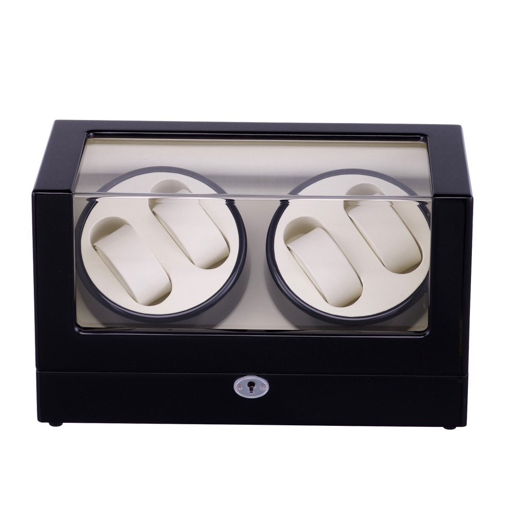 Watch Winder ,LT Wooden Automatic Rotation 4+0  Storage Case Display Box The new style 2019(Outsie is black Inside is white )Watch Winder ,LT Wooden Automatic Rotation 4+0  Storage Case Display Box The new style 2019(Outsie is black Inside is white )