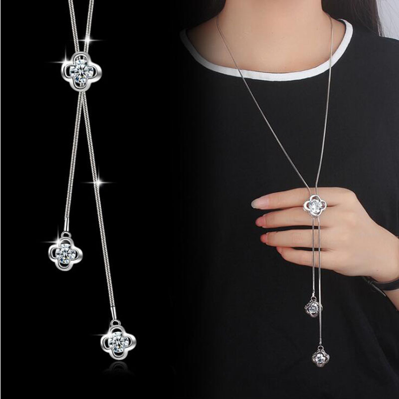 Yu Xin Yuan Fine Jewelry 925 Silver Zircon Indy Fashion Long Chain Necklace charm Pendant Women Favourite Jewelrypalace