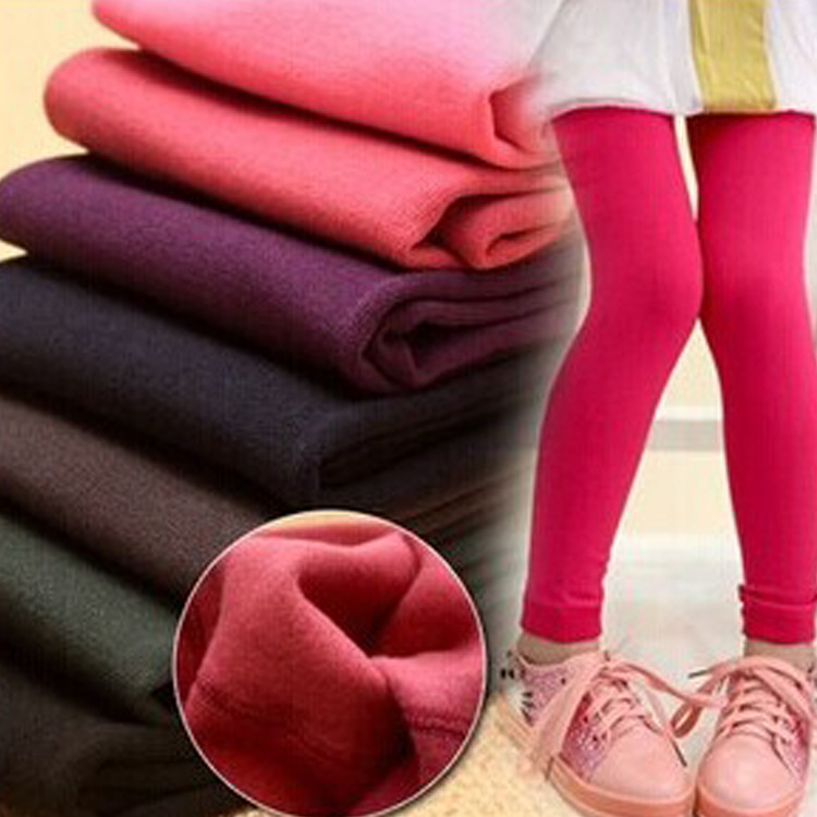 Winter Girls Leggings Cotton Children Pants Fleece Pants For Girl Colored Kids Leggins Teenager Trousers Baby Warm Clothing 4t 14t children s clothing pants leggings warm three layers plus plush thickening cotton baby girl clothes winter children