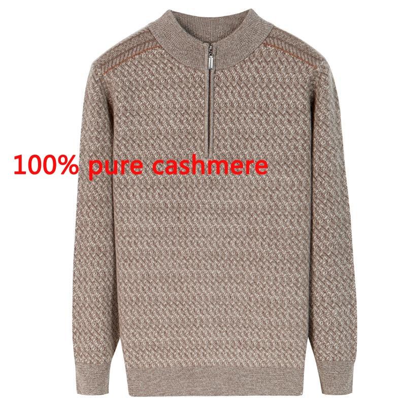 Gutherzig Neue Hohe Qualität 100% Reinem Kaschmir Pullover Verdickt Herbst Winter Casual Computer Gestrickte Zipper Kragen Plus Größe Xs-3xl4xl5xl Pullover Strickjacken