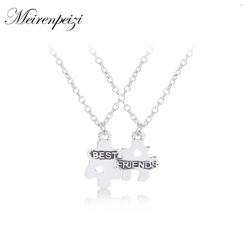 6607f38c9f Best Friends Forever Necklaces For 2 Puzzle Pendant Couple Necklaces for  BBF Heart Cut Off Friendship Jewelry -in Chain Necklaces from Jewelry &  Accessories ...