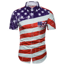 Fashion Slim Fit Short Sleeve Shirt Men 3D American US Flag Print Dress Shirts Male Casual Brand Camisa Hombre