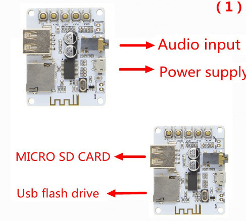 Bluetooth Audio Receiver board with USB TF card Slot decoding playback preamp output A7-004 5V 2.1 Wireless Stereo Music Module 4