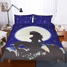 Mermaid and Moon Bedding Set 3D Printing Underwater World Duvet Cover with Pillowcase Bedroom Decor Bed Linens Bedclothes