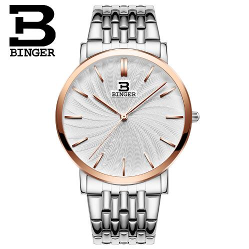 New Switzerland Binger men watches luxury brand quartz full Stainless steel ultrathin Wristwatches Waterproof Rose Gold Watch onlyou brand luxury fashion watches women men quartz watch high quality stainless steel wristwatches ladies dress watch 8892