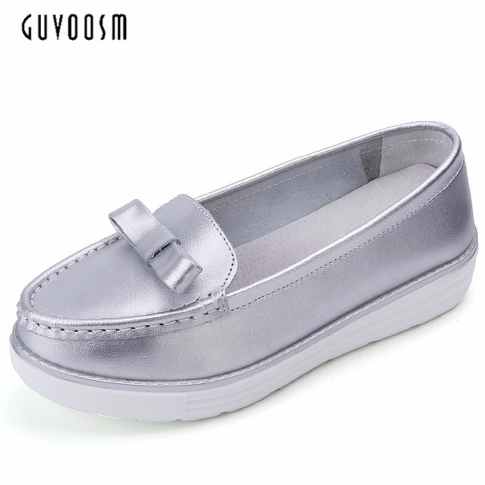 Guvoosm Full Genuine Flats Leather Sapato Feminino WomenFemale Loafers Casual Handmade Slip-On Rubber Shoes Woman Big Size31-44 guvoosm ladies med heels pumps women black casual sapato feminino rubber slip on shoes woman round toe big small size 31 43