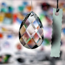 Grid Clear Chandelier Glass Lamp Prisms Parts Hanging Drops Pendants necklace pendant for women Jewelry gift 38mm(China)