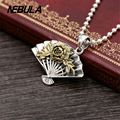 925 Sterling Silver Vintage Oriental fan & Peony Pendant Necklace Jewelry For Men Wonmen Punk Thai Silver Faith Without Chain