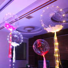 10pcs/lot 18 inch Clear Bubble Balloon With 3M Led Strip Copper Wire Luminous Led Balloons Kids Toy Wedding Party Decoration