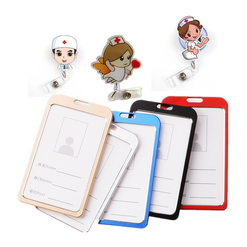 Cute Work ID Card Badge Holder Name Tag With Badge Reel For Doctor Nurse Supplies