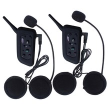 2Pcs BT Wireless Bluetooth 3.0 Motorcycle Helmet Headset Interphone V6 1200m Distance Intercom Headset