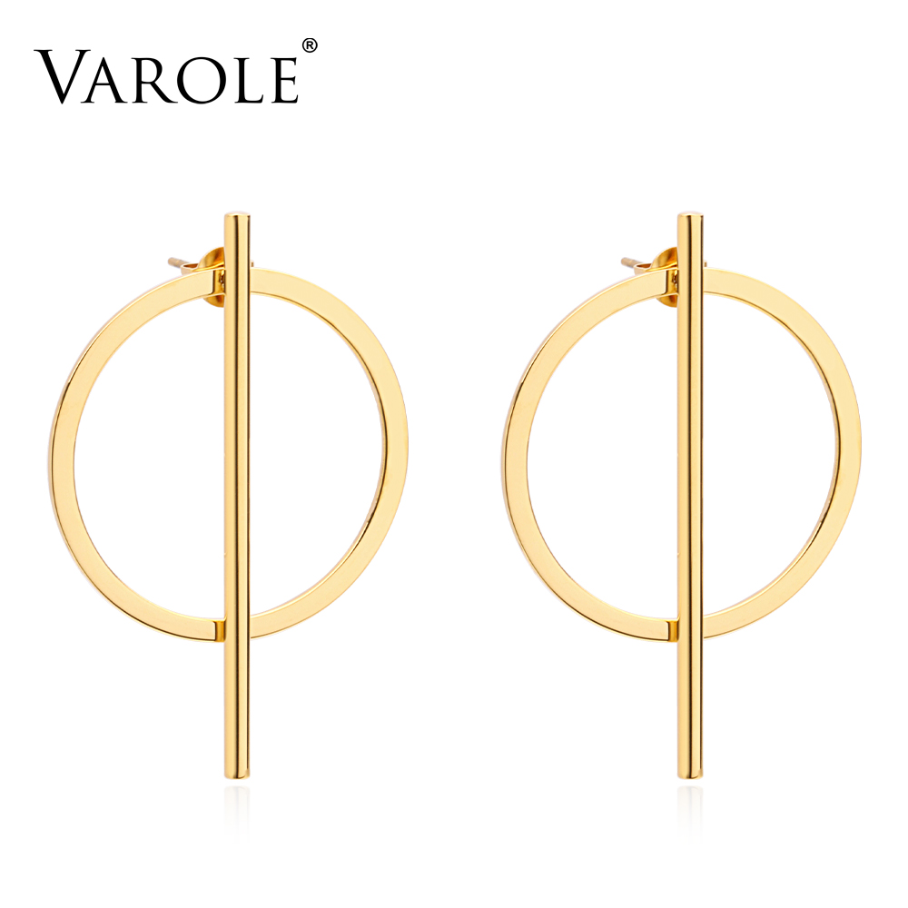 VAROLE Simple Style Drop Earring Girl 2018 Stainless Steel Gold Color Long Earrings For Women Fashion Jewelry Wholesale