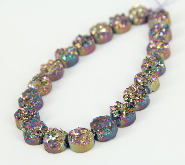 10mm Druzy Ágata en Bruto Loose Beads Coin Colgantes Joyas, Piedras Naturales Brillante Titanium Rainbow Drusy Cuarzo Ronda Plana collar