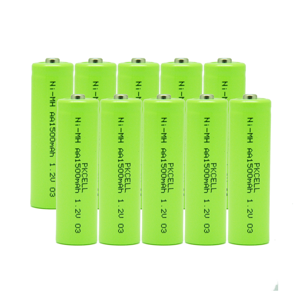 10PCS Rechargeable aa nimh battery 1.2v 1500mah in button top without PCB protection for cordlessphones ,toys ,controllers etc