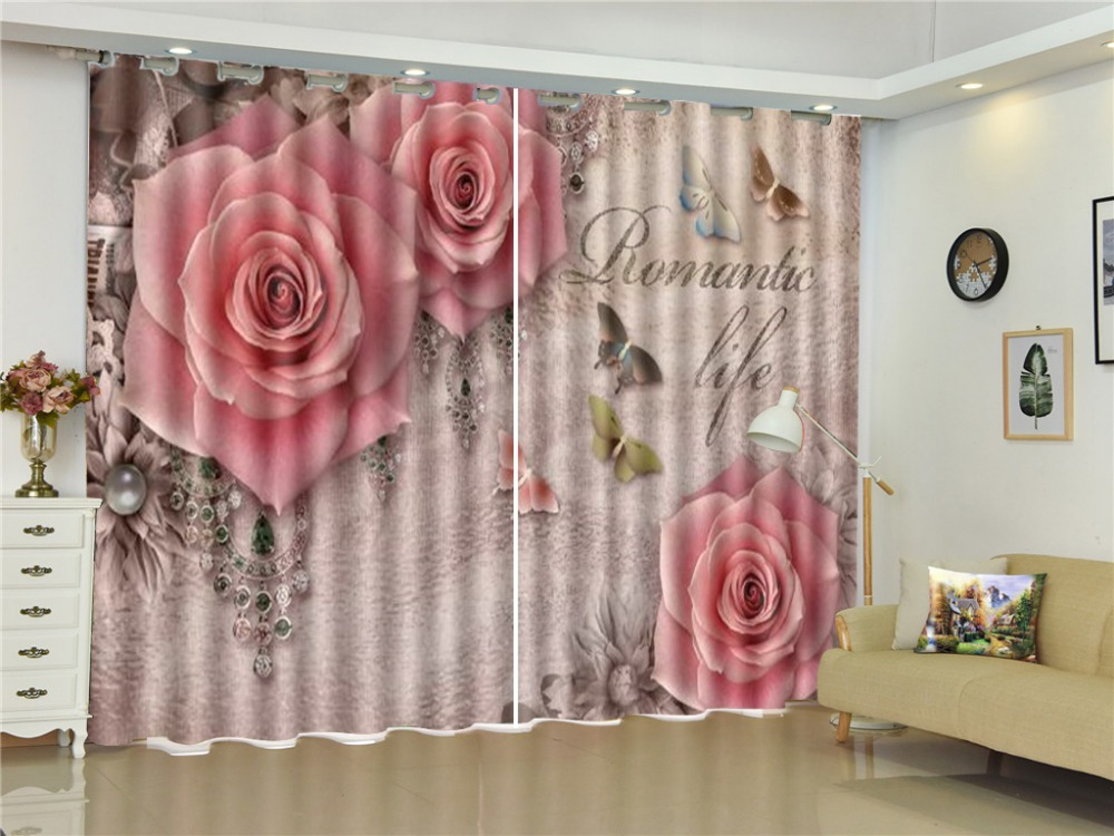 Curtain Group Of Colorful Butterflies, Three Delicate Pink Roses 3D Flower Curtains Beautiful Multi-Use Curtains