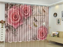 Curtain Group Of Colorful Butterflies Three Delicate Pink Roses 3D Flower Curtains Beautiful Multi-Use Curtains