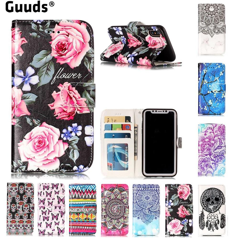 For iPhone X Ten 10 Phone Cover Skull Rose Flower Mandala Plum 3D Relief Oil PU Leather Wallet Case for iPhone X 5.8 inch