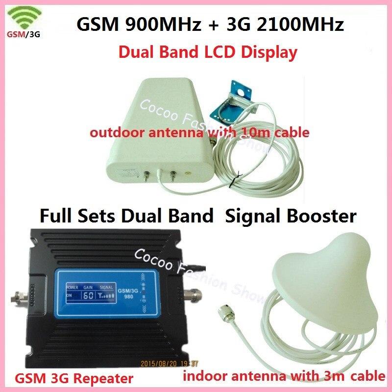 ЖК-дисплей ретранслятор! Dual Band FDD 3G UMTS W-CDMA 2100 мГц + 2 г GSM 900 мГц мобильный телефон сигнала усилитель GSM репитер 3G Усилители домашние