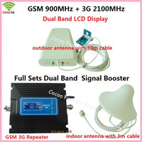 LCD Repeater ! Dual Band FDD 3G UMTS W CDMA 2100MHz + 2G GSM 900Mhz Cell Mobile Phone Signal Booster GSM Repeater 3G Amplifier