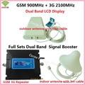 LCD Repetidor! FDD 3G UMTS de doble Banda W-CDMA 2100 MHz 2G GSM 900 Mhz Celular Amplificador de Señal de Teléfono Móvil Repetidor GSM 3G Amplificador