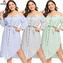 2019 Casual Large Big Plus Size Summer Lady Dresses Sling Loose Off Shoulder Elegant Women Blue Stripe Sash Dress Fat Green Gray(China)