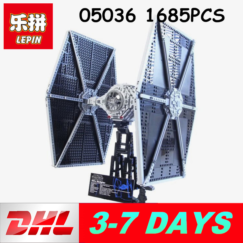 Lepin 05036 1685PCS Star wars The Tie Fighter Educational Building Blocks Compatible legoing 75095 to Brithday Gifts 722pcs lepin 05030 star wars vader tie advanced vs a wing starfighter 75150 building blocks compatible star wars brithday gifts
