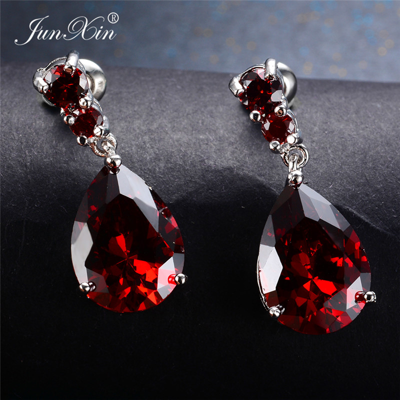 8 Style Female Red Water Drop Earrings Fashion Silver Color Zircon Stone Earrings Vintage Long Dangle Earrings For Women
