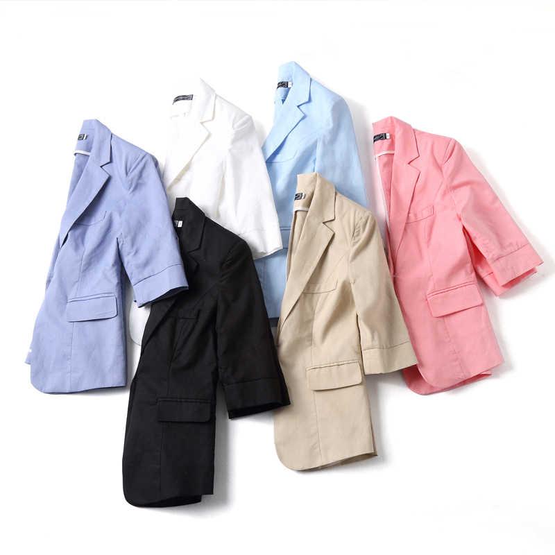 Nhiều Màu Sắc 4XL Cộng Với Kích Thước Phụ Nữ Lỏng Lẻo Áo Khoác 2019 Mùa Hè Mùa Thu Mới Quần Áo Giản Dị Bông Vải Lanh Màu Hồng OL Blazer FemininA p266