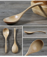 1PC Natural Wood Spoon Kitchen Accessories Eco-Friendly Tableware Dining Soup Tea Honey Coffee MF 007