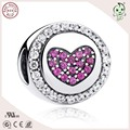 Top Quality Pink Stone Paving 925 Real Siver Heart Circle Charm For Famous European Chain Or Necklace