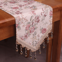 CURCYA Pastoral Country Rose Flowers Table Runners for Wedding / Classic Vintage Floral Home Decoration Beige Table Runner