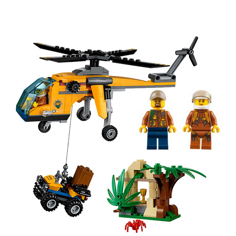 02080 LEPIN City Jungle Cargo Helicopter Model Building Blocks Classic Enlighten DIY Figure Toys For Children Compatible Legoe коврик домашний sunstep цвет синий 140 х 200 х 4 см