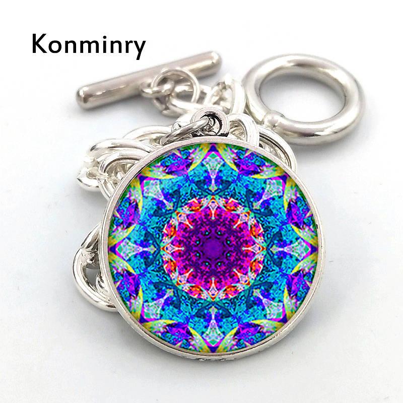 Konminry Vintage Mandala Crystal Bracelet Silver Color Chain Buddhism Bracelets For Women Handmade Glass Bangle Indian Jewelry