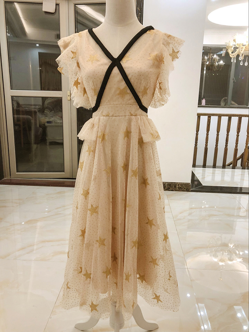 Apricot Colour Starry Midi Dress Female V-neck Slim Dress  Fashion Ladies  Wedding Party Dress Bridesmaid Back Of Zipper