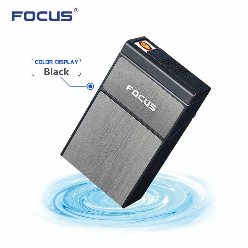 Kotak Rokok kreatif dengan Removable USB Tungsten Turbo Lighter 20pcs Rokok Pemegang Case Mewah Baru ARC Plasma Encendedor
