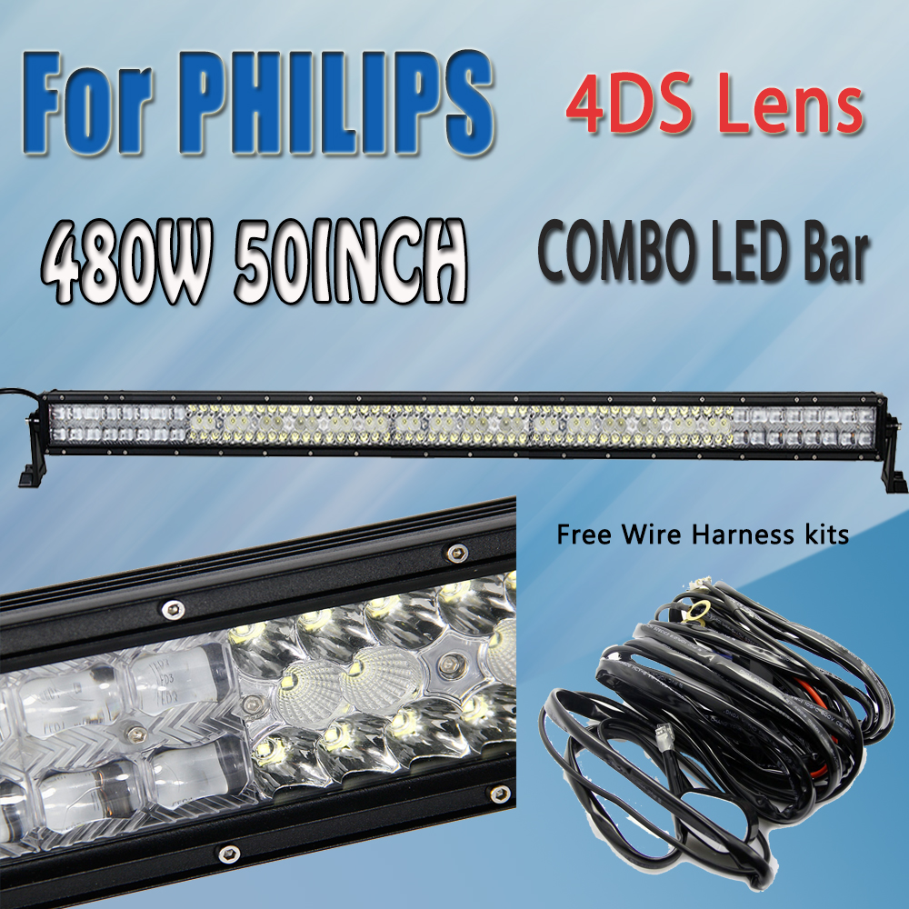 hight resolution of parts accessories philips 42inch 240w combo led work light bar driving truck boat wiring harness