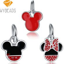 WYBEADS Silver Color Charm Cartoon Fairy Tale Minnie Charms European Pendant Fit Bracelets Bangles DIY Accessories