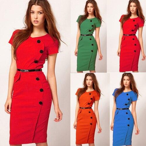 Short Sleeve Knee Length Women Buttons Peplum Dress Plus Size Women