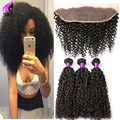 Malaysian Curly Hair With Closure Frontal 3 Bundles With Frontal Closure Kinky Curly Virgin Hair With Frontal Curly Weave Human