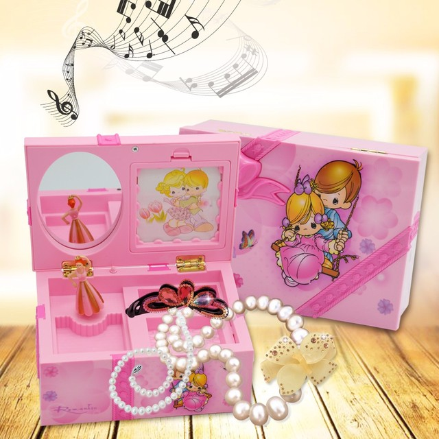 Love Girls Fairy Figurine Dance Dall Make Up Box Musical Jewellery Boxes with Mirror and Ballet Wedding Birthday Gifts Wholesale